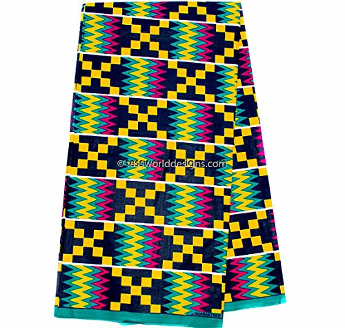 Wholesale Kente Print Fabric 6 Yards Wedding Kente Print Kente Cloth (Green and Fuchsia)
