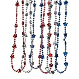 12 piece Patriotic USA America Red White and Blue Metallic Star Necklaces