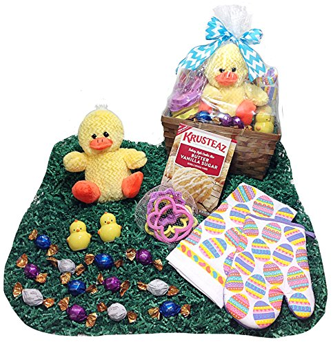 Kitchen & Cookie Baking Easter Gift Basket - Godiva Gourmet Chocolate Truffles, Krusteaz Sugar Cookie Mix, Cookie Cutters, Salt & Pepper Shakers, Towel, Potholder & Plush Chick (Godiva Cookies)