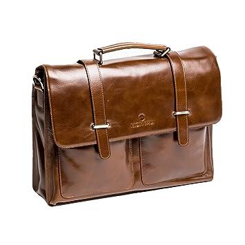 f85933fa4477b MONVALI Herren Aktentasche Leder Millard braun Businesstasche Laptoptasche  14 Zoll