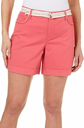 00258f94ccf Gloria Vanderbilt Womens Marisa Belted Shorts Embroidered Pockets Size 24W  at Amazon Women s Clothing store