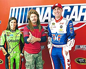 2X AUTOGRAPHED Kevin Harvick & Danica Patrick 2015 NASCAR Salutes Weekend (Joe Dirt Picture Pose) Pre-Race Signed 8X10 Picture NASCAR Glossy Photo with COA from Trackside Autographs
