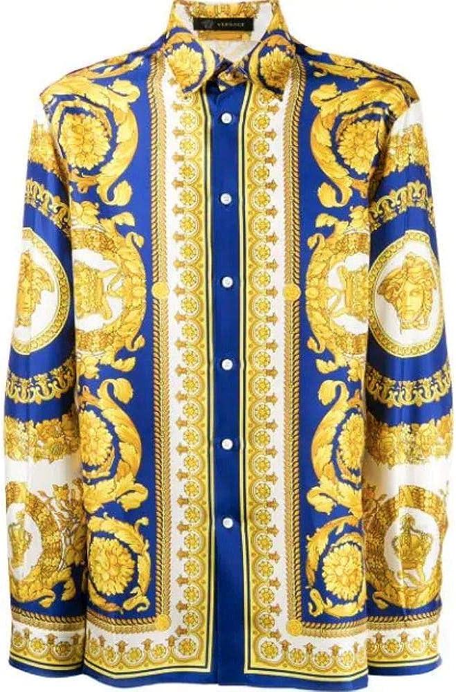 Versace Camisa de hombre A75980A230628A741 Seda Oro dorado talla de marca 42 cm: Amazon.es: Ropa y accesorios
