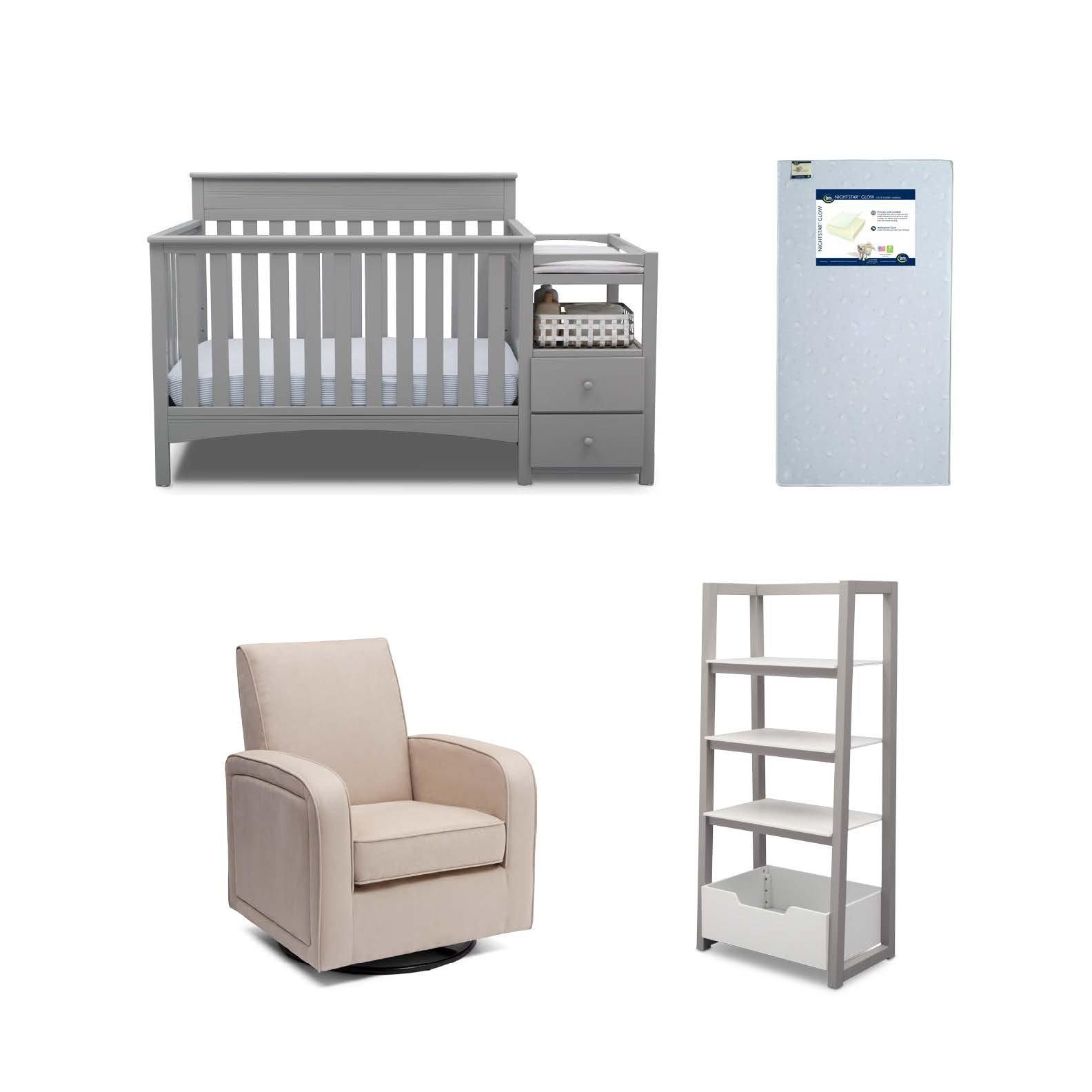 Delta Children Presley 4-Piece Nursery Furniture Set (Convertible Crib N Changer, Ladder Shelf, Glider, Crib Mattress), Grey