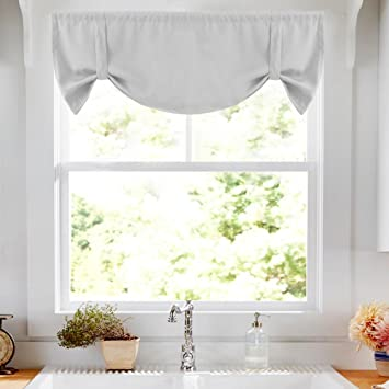 Tie Up Valance For Kitchen Windows Tie Up Curtains For Windows Room Darkening Curtain Adjustable Balloon Window Shades Rod Pocket 20 L Greyish