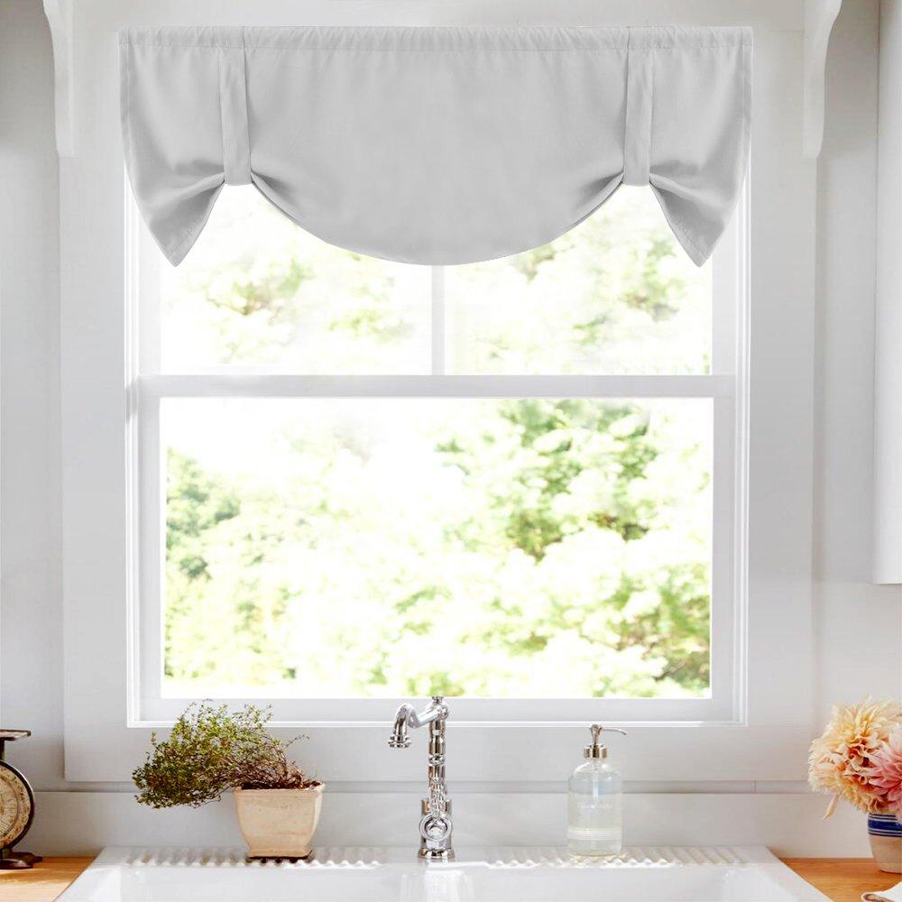 Tie Up Curtains for Windows Room Darkening Curtain Tie-up Valance for Kitchen Windows Adjustable Balloon Window Shades, Rod Pocket, 20'' L - Greyish White