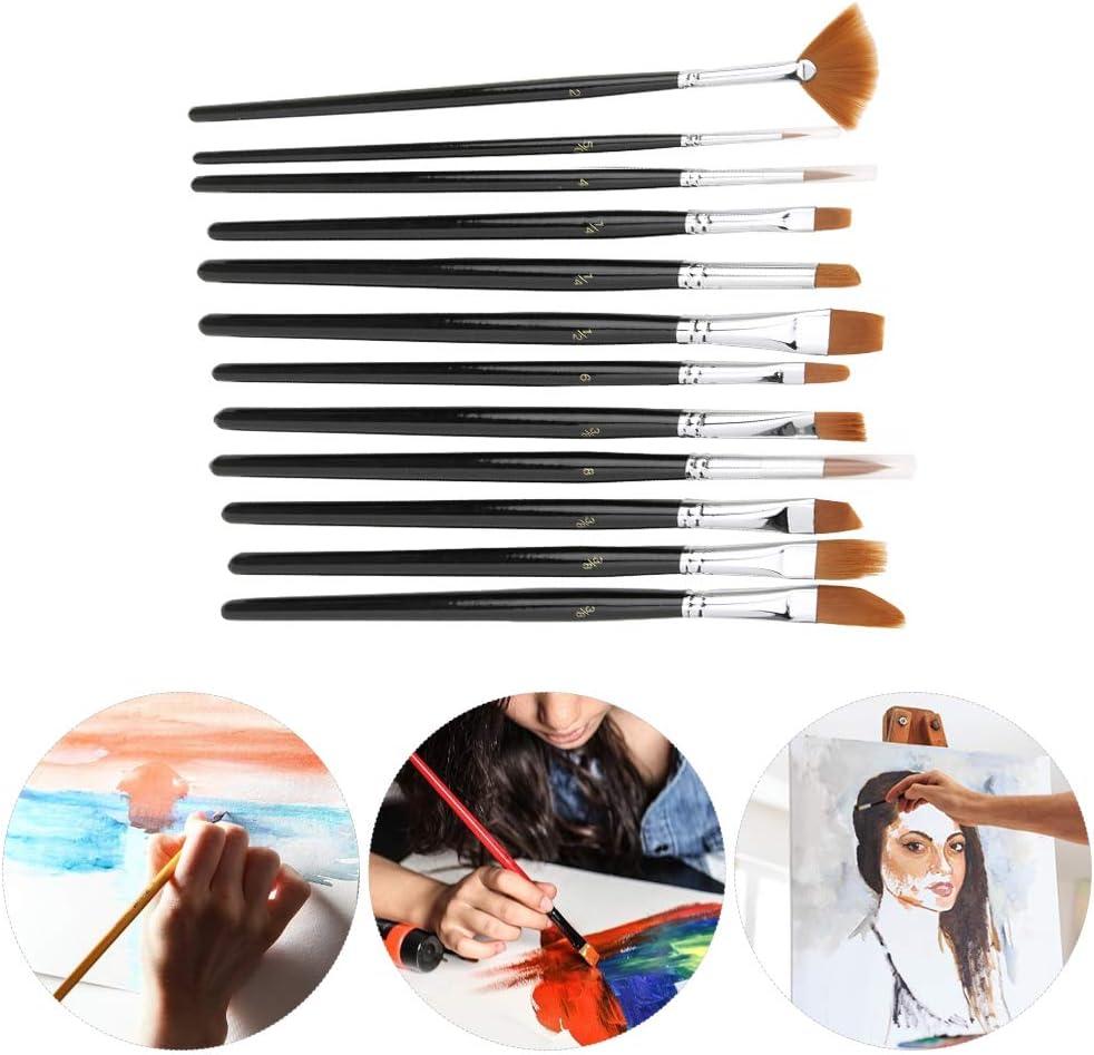 HEEPDD Juego de Pinceles 12 Piezas Conjunto de Cepillo de Pelo de Nylon de Varilla Negra Juego de Pinceles de Acuarela para Detalles en Miniatura Pintura rupestre Pintura acr/ílica de Acuarela
