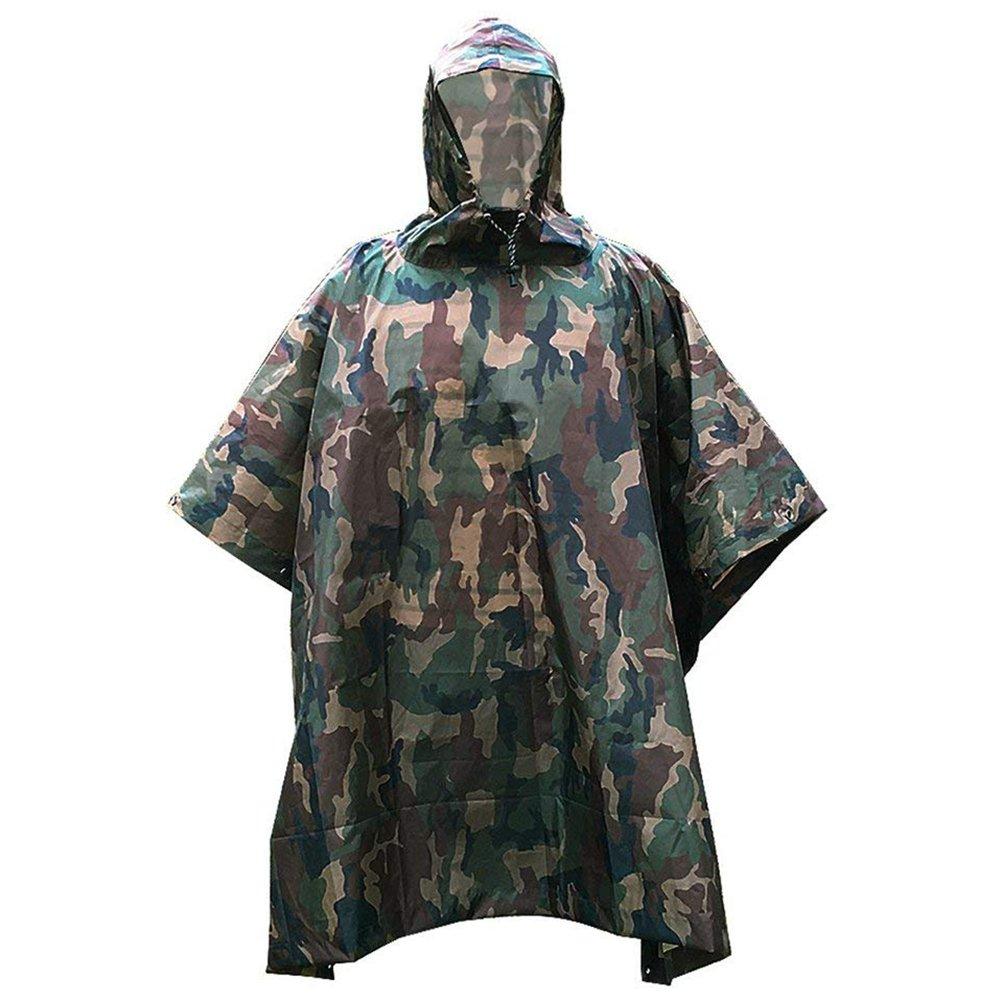 Poncho Pluie iRegro Poncho Impermeable multifonction militaire Camouflage vêtements imperméables compressible imperméable Camping tente et tissu d'ombre ensoleillée de chasse pêche randonnée Camping