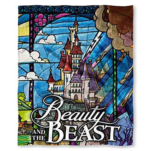 Sided Stained Glass - Northwest Disney Beauty and The Beast Stained Glass Enchanted Castle Silk Touch Throw Blanket 50