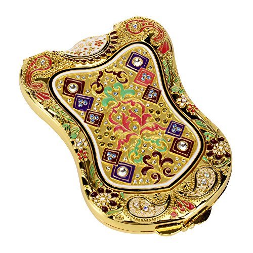 Nerien Womens Magnifying Vintage Foldable Antique Style Shield Vanity Mirror Cosmetic Purse Mirror Portable Travel Mirror Gold