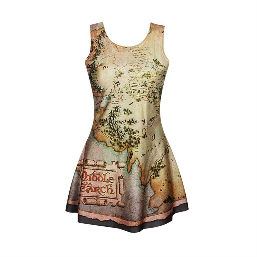 Molif Fashion 3D Graphic Printed Middle Earth Map Skater Singlet Dress Sleeveless