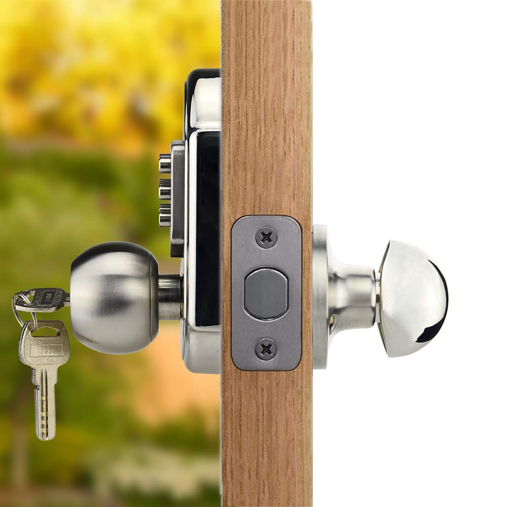 """Mechanical,Does Not Lock Automatically Bravex Left Keyless Entry Door Lock Keypad,Not Deadbolt,Only for Single Borehole Door,Borehole Smaller Than Dia.2-1//8/"""",Need Drill Additional 4 Holes"""