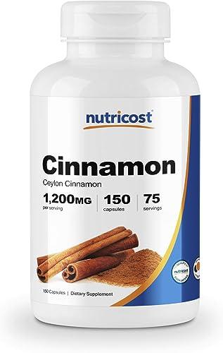 Nutricost Cinnamon Ceylon Cinnamon 1,200mg Serving, 150 Capsules - Gluten Free, Non-GMO