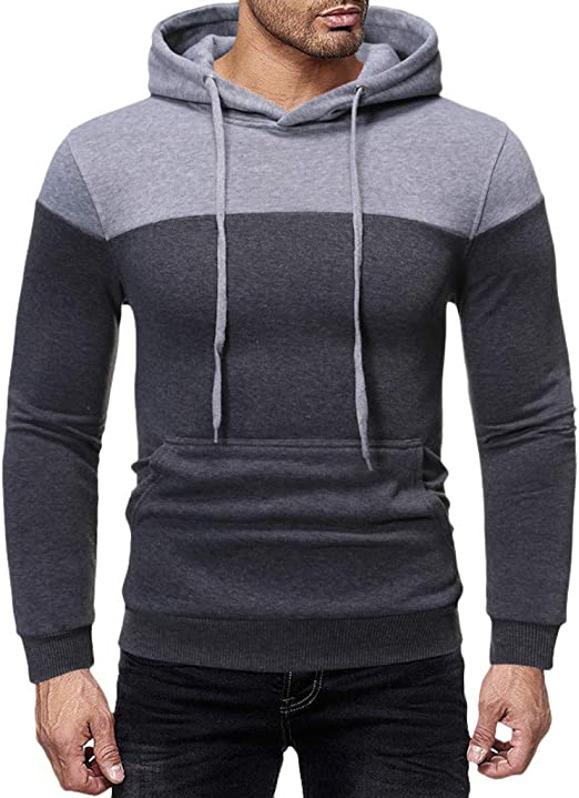 Mens Colorblcok Zip Hoodie Long Sleeve Pullover Hooded Sweatshirt Tops with Pockets