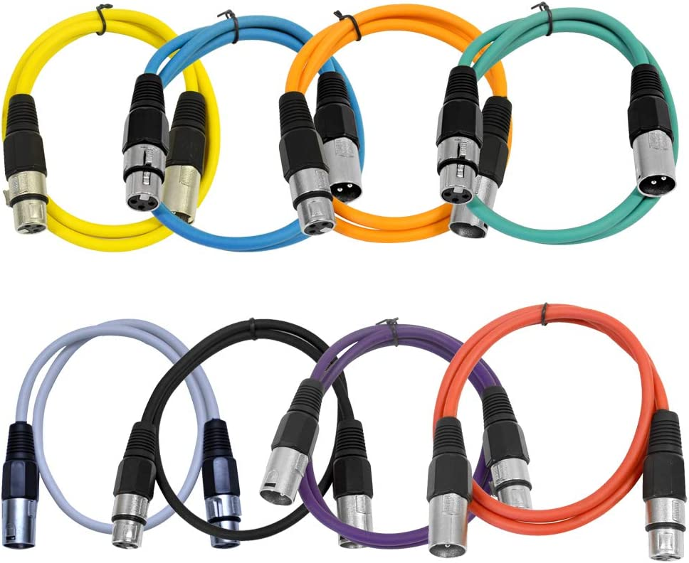 Balanced Yellow and Yellow SAXLX-2-4 Pack of 2 XLR Male to XLR Female Patch Cables SEISMIC AUDIO 2 Foot Patch Cord