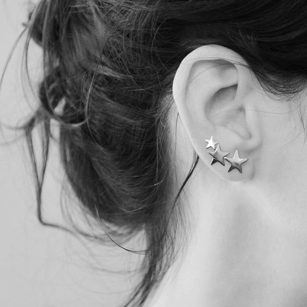 Handmade Sterling Silver Ear Cuff, PAIR Stars Crawlers Earring, Ear Sweeps, Ear Climbers, Cuff Stud Earrings, Artisan Jewelry