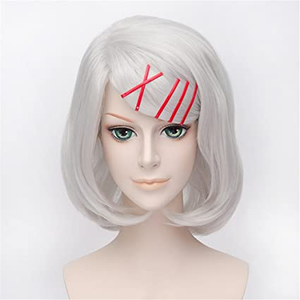 LanTing Cosplay Peluca Tokyo Ghoul REI Silver White Short Styled Woman Cosplay Party Fashion Anime Human