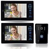 """Ennio 2.4g 7"""" TFT Wireless Video Door Phone Intercom Doorbell Home Security 1 Camera 2 Monitor"""