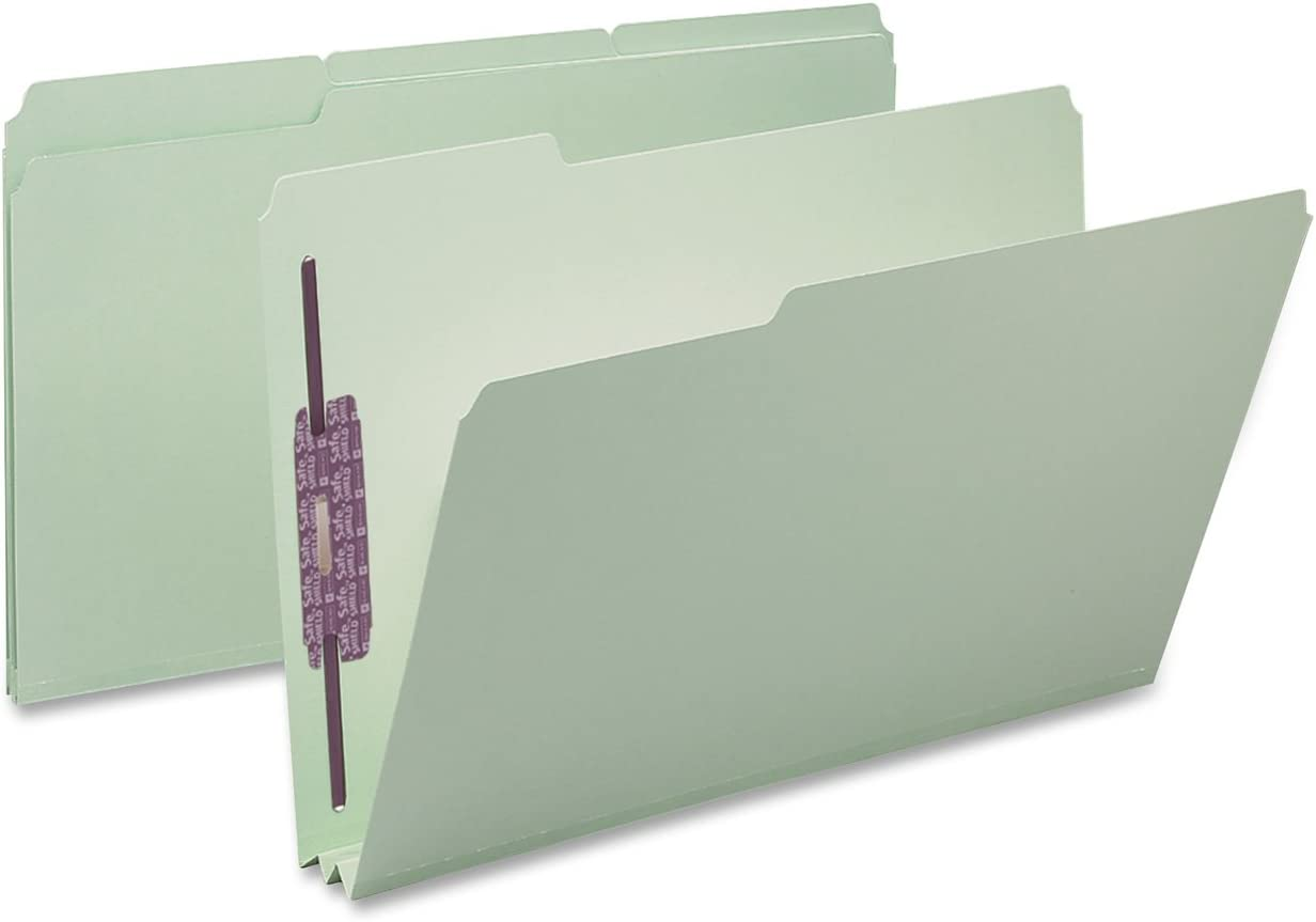 "Smead Pressboard Fastener File Folder with SafeSHIELD Fasteners, 2 Fasteners, 1/3-Cut Tab, 2"" Expansion, Legal Size, Gray/Green, 25 per Box (19934)"