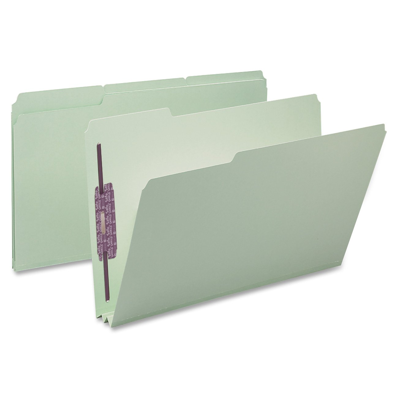 Smead Pressboard Fastener File Folder with SafeSHIELD Fasteners, 2 Fasteners, 1/3-Cut Tab, 2'' Expansion, Legal Size, Gray/Green, 25 per Box (19934)