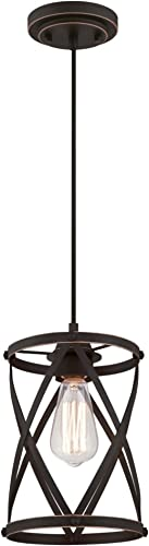 Westinghouse Lighting 6362200 Isadora One-Light Mini, Oil Rubbed Bronze Finish with Highlights Indoor Pendant,