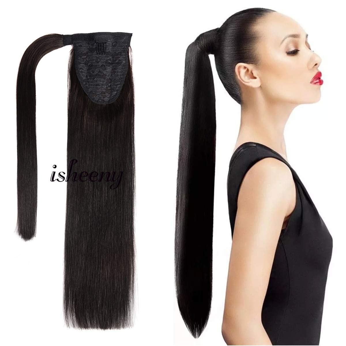 14'' Clip In Human Ponytail Hair Extensions Remy Human Hair Piece For Women - 1 Piece Hairpiece 60 Grams Wrap Around Ponytail Human Hair Extensions Black Color