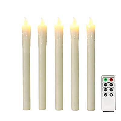 "Ivory 10"" Flameless Taper Candles with Timer, Battery Operated Candles, Push-Activated, Wax Drip, Warm White Light, Remote & Batteries Included - Set of 5: Home Improvement"