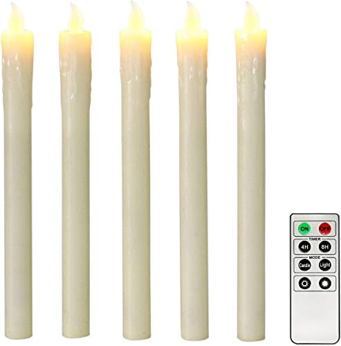 Ivory 10 Flameless Taper Candles with Timer, Battery Operated Candles, Push-Activated, Wax Drip, Warm White Light, Remote Batteries Included – Set of 5