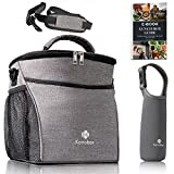 Lunch Bag | Insulated Lunch Box for Adult Women and Men for Work/School/Picnic/BBQ | Large 9L Cooler Tote Bags for Kids Girls & Boys with Water-Resistant Compartment and Thermal Bottle Sleeve, Grey