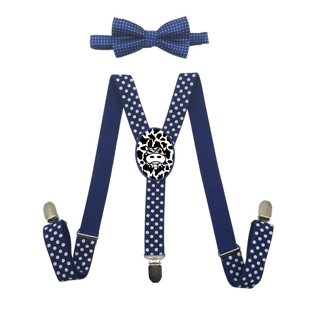 Qujki Cow Cartoon Suspenders Bowtie Set-Adjustable Length