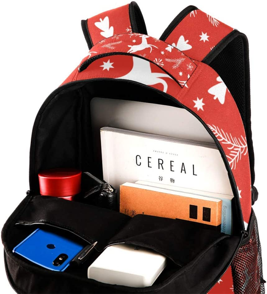 Red Christmas Reindeer Backpack Travel Bag Laptop Bag School Bag Bookbag Hiking Camping Rucksack