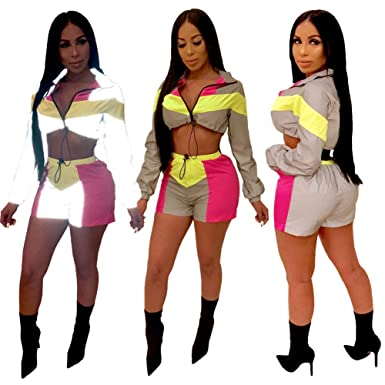 5ef2bd1df967 Women Sexy Reflective 2 Piece Outfits Short Pant Sets Long Sleeve Crop Tops  Clubwear Grey Rose