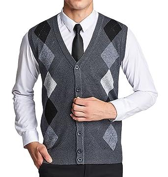 d290387e80c5e Lyamazing Men s V-Neck Argyle Pattern Button Down Sweater Vest Cardigan at  Amazon Men s Clothing store