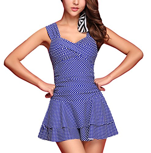 Chfashion Women's Dots Slim Fit Modest Hot Spring One Piece Swimsuit Plus Size Navy Blue Small