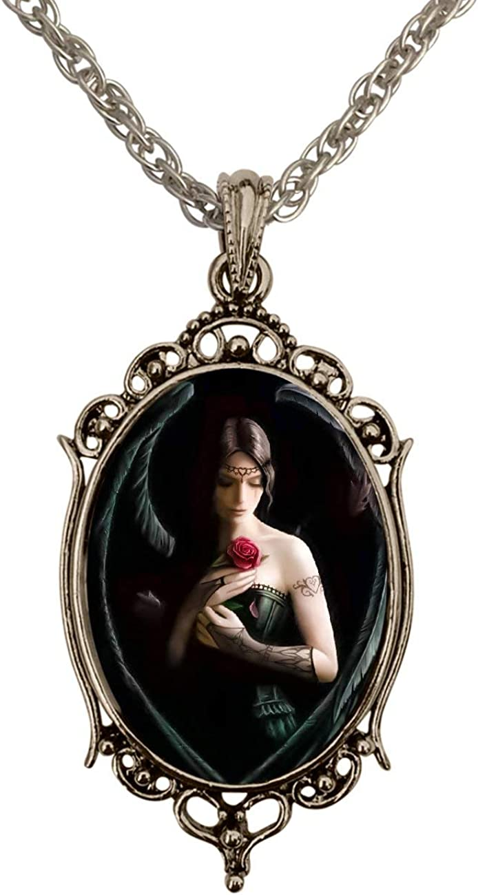 DragonWeave Gothic Angel Antique Silver Handmade Cameo Pendant Necklace