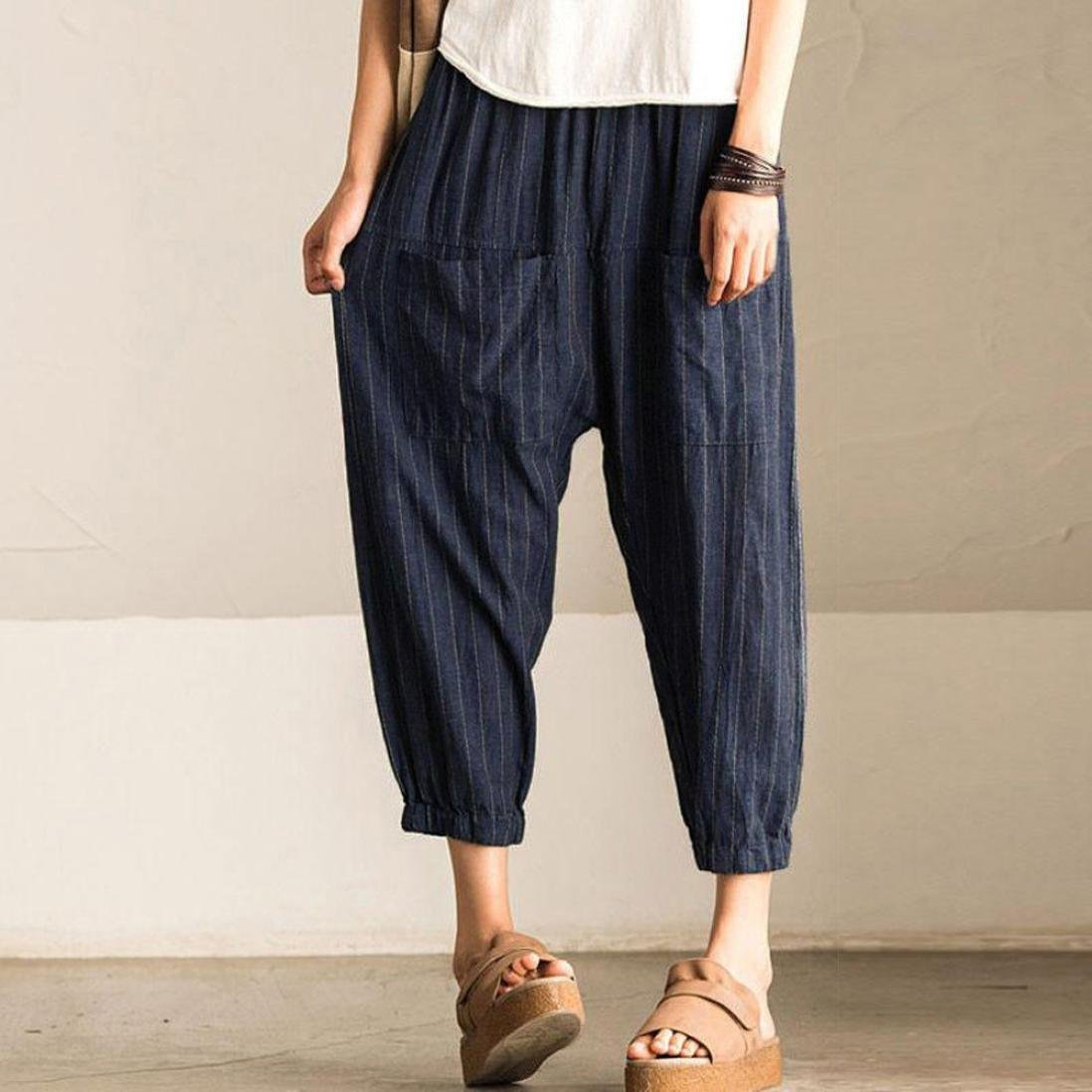 Womens Summer Loose Fitting High-waisted Spatchwork  Stripes Pants With Pockets  Womans Casual Pants  Baggy Pants  Harem Pants For Women