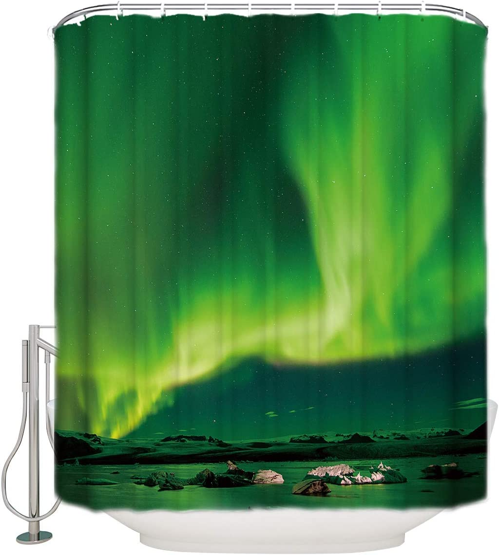 FAMILYDECOR Home Polyester Fabric Grommet Shower Curtain with Hooks Green Aurora Waterproof Decorative Bathroom Curtain for Home Dorm Hotel Restroom, Stall Size 48x72 Inch