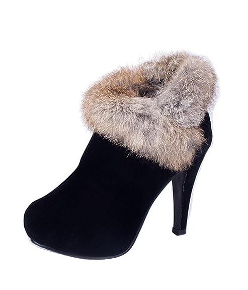 ae2ac04852 Gaorui Fashion Women Faux Suede Fur Ankle Boots High Heels Platform pump  Stiletto shoes