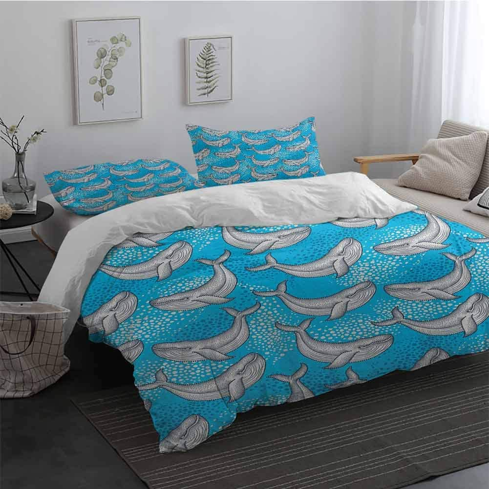 Sheet Set Microfiber Bedding Sea Animals Dotted Humpback Whale Maritime Theme Summer Artwork Style Ornament Ocean Design Bedding Set for Men, Women, Boys and Girls Blue Grey Long Twin