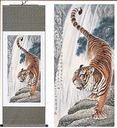 MODEBESO Silk Chinese Painting tiger Home Decorate Calligrap