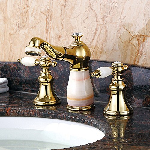 Guoke Bathroom Sink Faucet Stainless Steel Faucet Bathroom Copper Jade Three-Hole Lift Basin Faucet Plating Rust-Proof High-Grade Home Basin Faucet D38