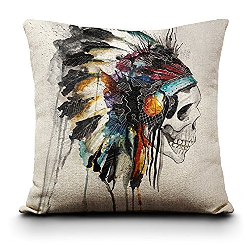 Fund Vintage 18'' X 18''colorful Sugar Skull Mexican Day of the Dead Linen Throw Pillow Cushion Cover (American Indian) ()