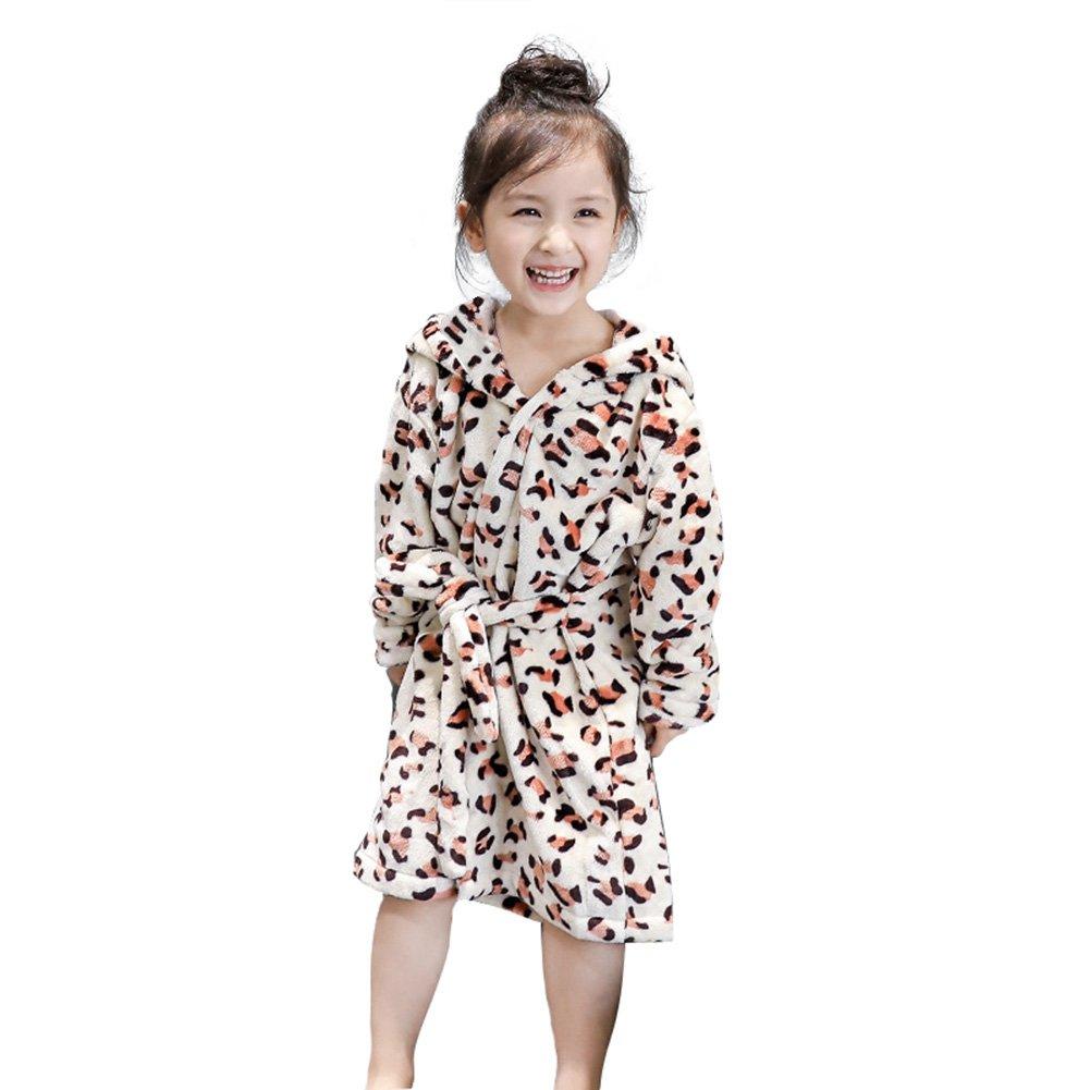 DREAMOWL Girls Bathrobe Fashion Leopard Print Cotton Hooded Sleepwear Kids