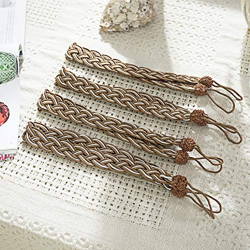 Cord Backs Tie (PRAVIVE Braided Rope Curtain Tiebacks - Hand Knitting Rope Cord Drape Hold Backs Ties for Blackout Curtains and Draperies, Dark Coffee,4-Pack)