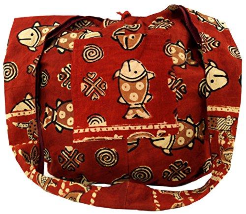 Guru-Shop Sadhu Sac, sac à Bandoulière, sac à Bandoulière Hippie Imprimé en Bloc - Rouge/blanc, Mixte Adulte, Coton, Sac Sadhu, sac Hippie Rouge/Poisson