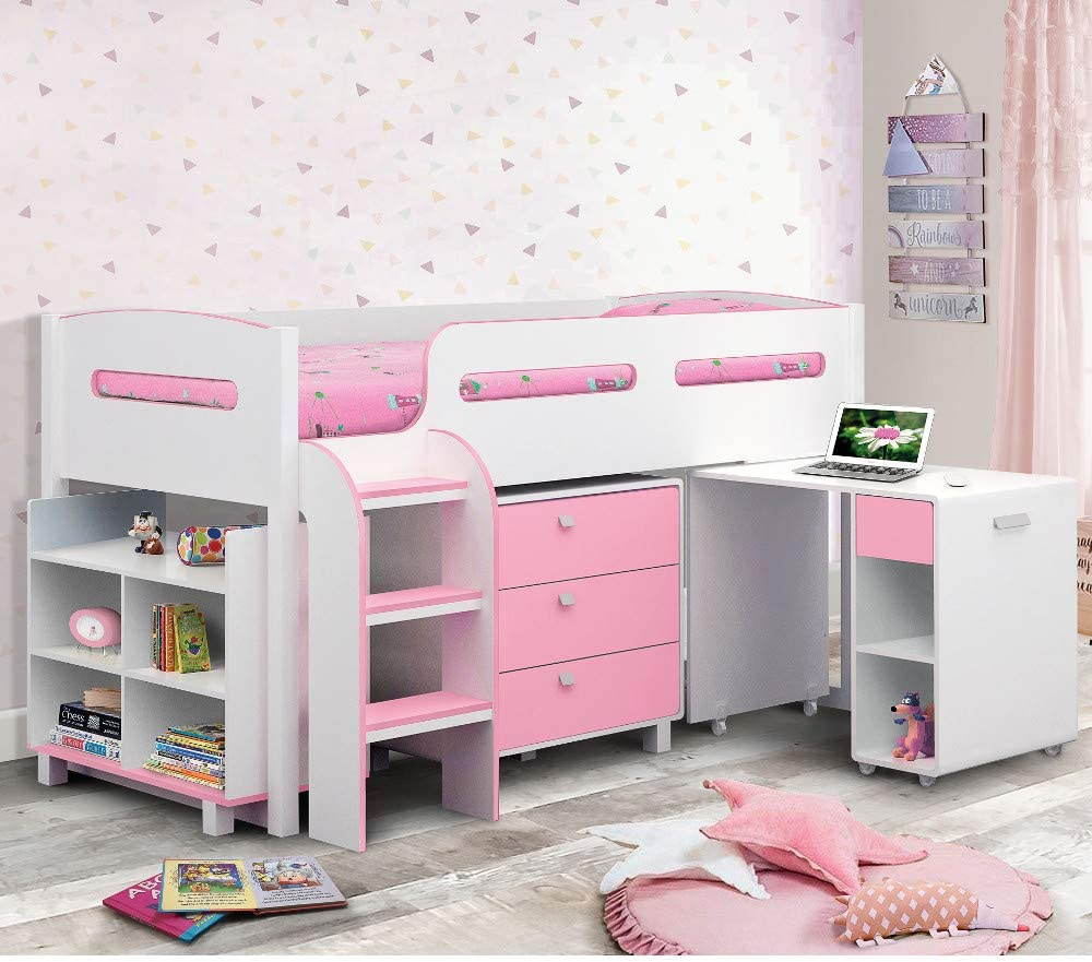 Happy Beds Kimbo White And Soft Pink Finished Sleep Station Childrens Kids Bunk Bed Frame 3 Single 90 X 190 Cm Amazon Co Uk Kitchen Home