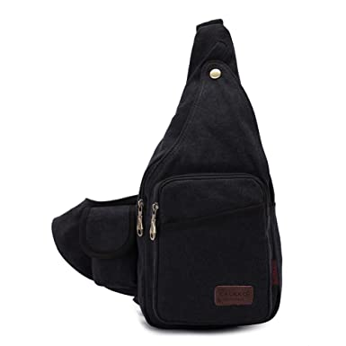 Amazon.com: KAUKKO One Strap Sling Cross Body Messenger Bag ...