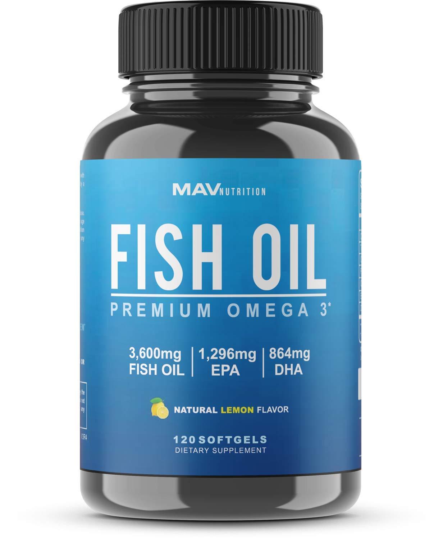 MAV Nutrition Omega 3 Fish Oil Triple Strength 3600mg Burpless NonGMO NSFCertified 120 Count 1
