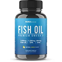 Omega 3 Fish Oil 3,600 mg - Designed to Support Heart, Brain, Joints & Skin; with...