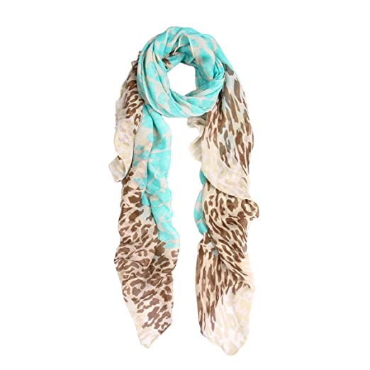 2b87eb5a9 Premium Spot Leopard Multi Tone Animal Print Scarf, Light Blue at Amazon  Women's Clothing store: Fashion Scarves